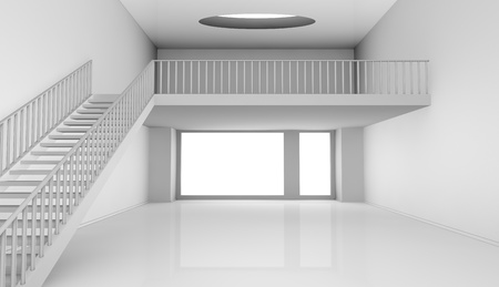 living room window: one empty room with a stair and a loft (3d render)