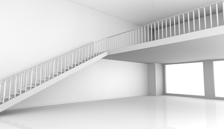 one empty room with a stair and a loft (3d render) Stock Photo - 11505824