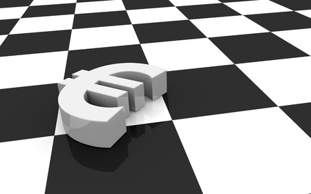 one euro symbol and a chessboard; concept of challenge (3d render) photo