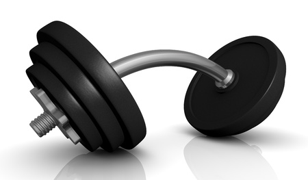 one dumbbell with bent handle (3d render) photo