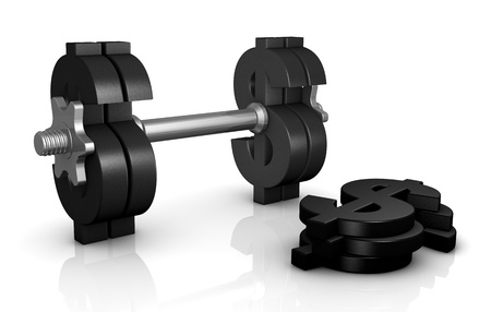 financial metaphor: one dumbbell with the dollar symbol instead of discs (3d render)