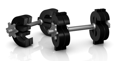 two dumbbells with the euro and dollar symbol instead of discs (3d render) photo
