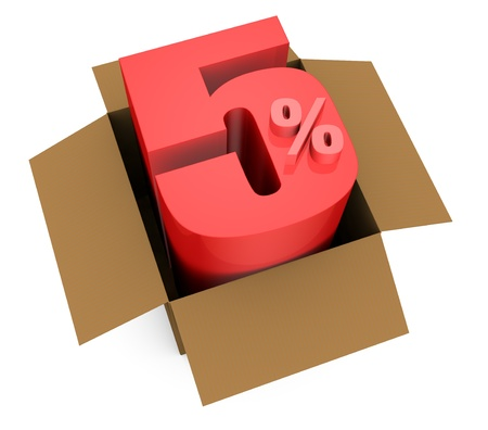 one open carton box with the 5 percent rate number that comes out (3d render) Stock Photo - 11909375