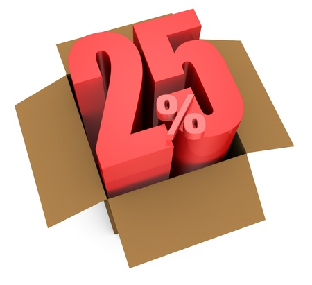 one open carton box with the 25 percent rate number that comes out (3d render) Stock Photo - 11909374