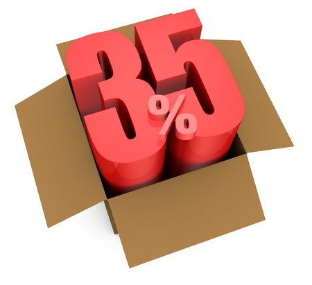 one open carton box with the 35 percent rate number that comes out (3d render) Stock Photo - 11909395