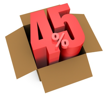 one open carton box with the 45 percent rate number that comes out (3d render) Stock Photo - 11909372