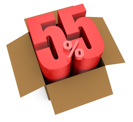 one open carton box with the 55 percent rate number that comes out (3d render) Stock Photo - 11909396