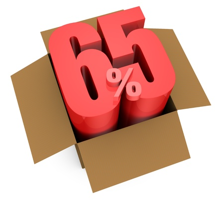 one open carton box with the 65 percent rate number that comes out (3d render) Stock Photo - 11909394