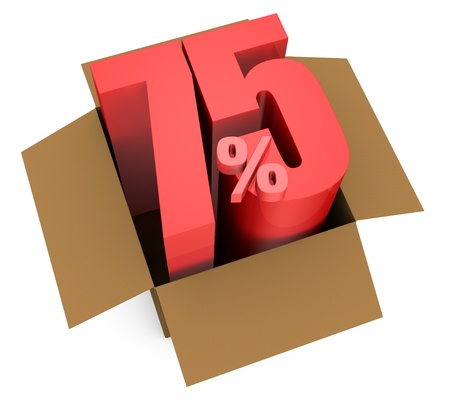 one open carton box with the 75 percent rate number that comes out (3d render) Stock Photo - 11909370