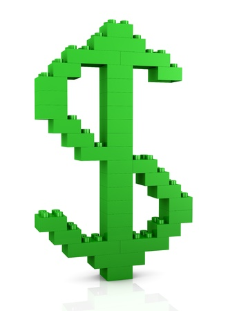 plastic bricks: The dollar symbol made with plastic bricks (3d render) Stock Photo