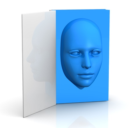 one book with a blue face that goes out from the pages (3d render) Stock Photo - 11909369