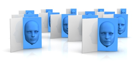several books with a blue face that goes out from the pages (3d render) photo