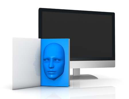 one book with a blue face that goes out from the pages and a computer in background (3d render) Stock Photo - 11909401
