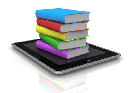 one tablet pc with a stack of coloured books over it (3d render) photo