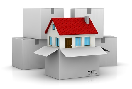 residential homes: one stack of cartons and one carton open with a house that goes out from it (3d render) Stock Photo