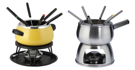 two fondue sets in different colors. One yellow and one chrome photo