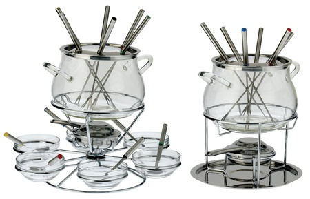 two fondue sets. one with the cups photo