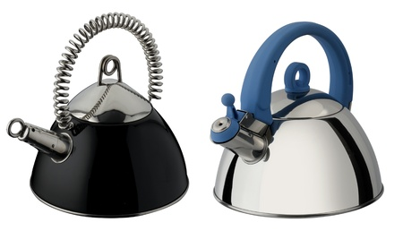 one set of two new tea kettles, stainless and black photo