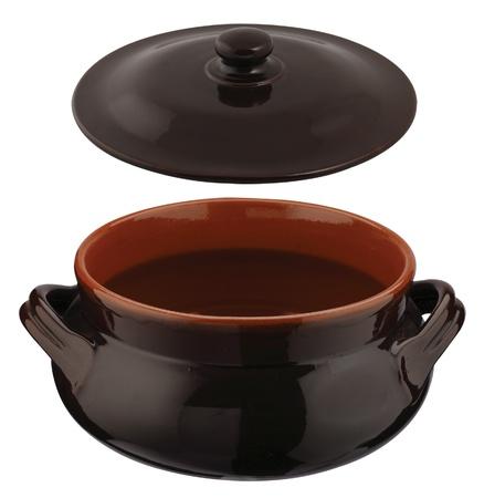 ollas de barro: una nueva olla de barro de color marr�n con tapa