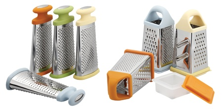 one set of graters in different shapes and colors photo