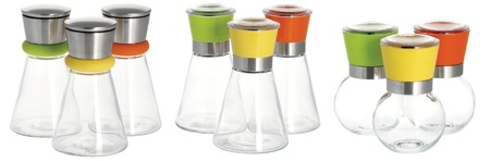 three sets of salt and sugar dispenser with the cover in different colors photo