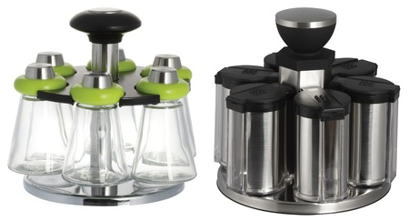 two sets of salt and sugar dispenser with the cover in different colors photo