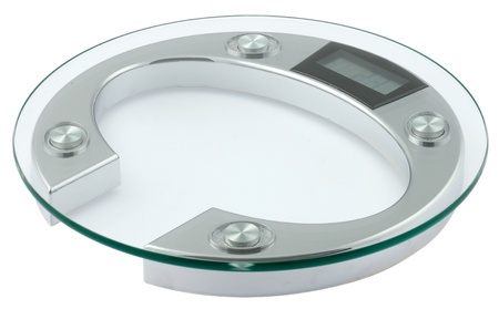one weighing scales made with glass and steel, circular shape photo