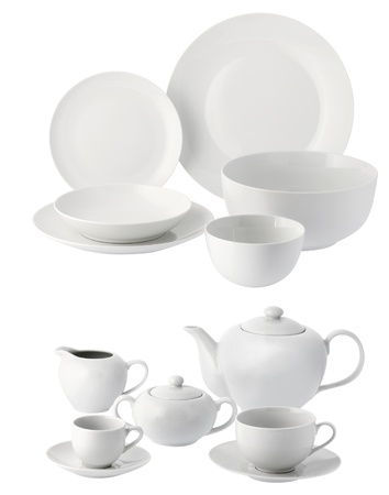 coffee set: one set of dinner service in white ceramic Stock Photo