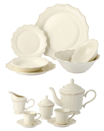 one set of a classic dinner service without decorations photo