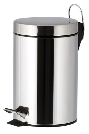 One trash bin for the bathroom with chrome effect photo