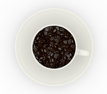 Top view of a cup full of coffee beans (3d render) photo
