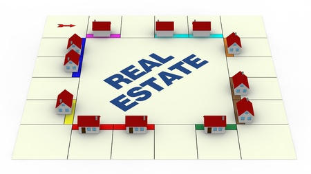 board games: one board of a famous game with small houses around, concept of real estate (3d render) Stock Photo