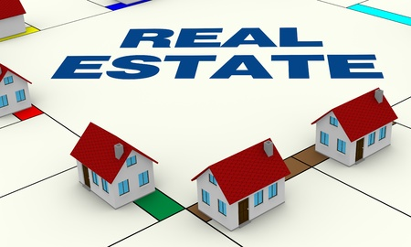 monopoly: one board of a famous game with small houses around, concept of real estate (3d render) Stock Photo
