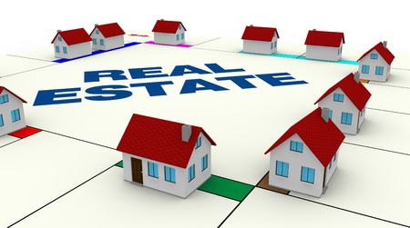 invest: one board of a famous game with small houses around, concept of real estate (3d render) Stock Photo