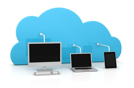 backups: digital devices connected to a cloud (3d render) Stock Photo