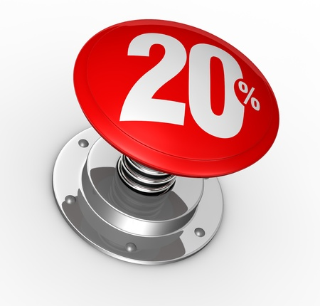 one button with number 20 and percent symbol (3d render) photo