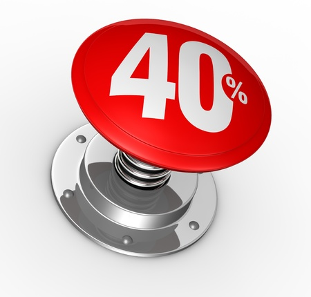 40: one button with number 40 and percent symbol (3d render)