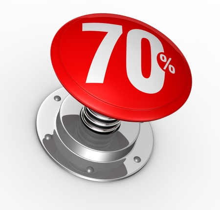 one button with number 70 and percent symbol (3d render) photo