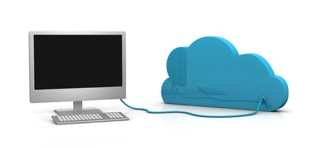 one computer connected to a cloud (3d render) photo