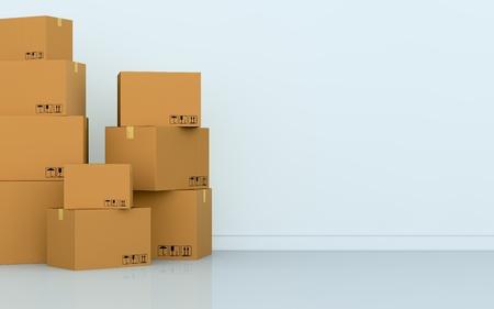 een lege kamer met een stapel dozen (3d render)