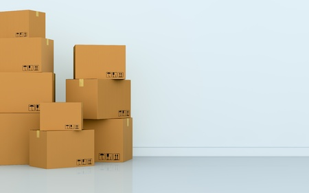 deliver: one empty room with a stack of cartons (3d render) Stock Photo