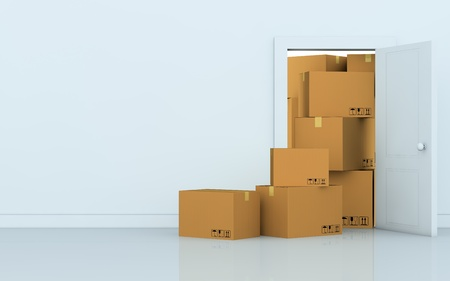 one empty room with a stack of cartons (3d render) photo