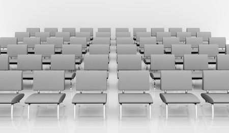 front view of many rows of chairs (3d render) photo