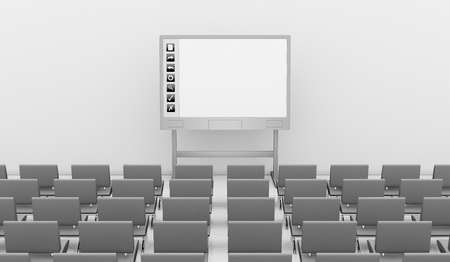 one interactive whiteboard with rows of chairs (3d render) photo