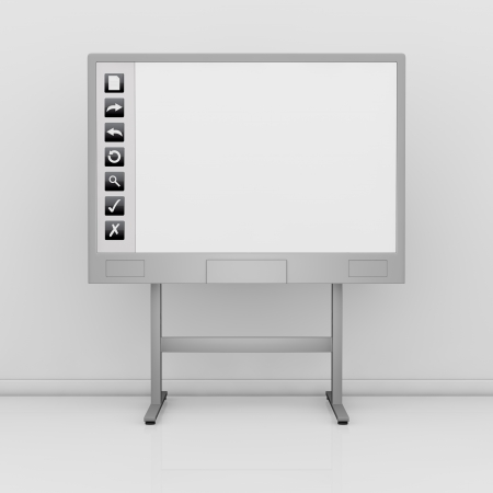 multimedia: front view of an interactive board with a white display and some icons on the left (3d render)