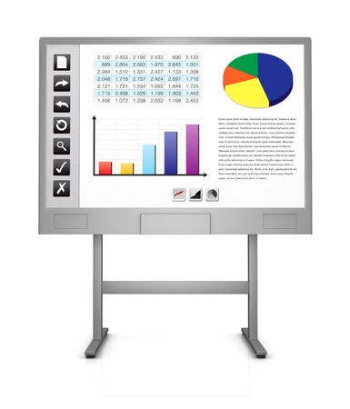 spreadsheets: front view of an interactive board that shows a spreadsheet, charts and some icons on the left (3d render) Stock Photo