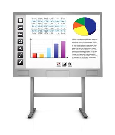 hoja de calculo: vista frontal de una pizarra interactiva que muestra una hoja de c�lculo, gr�ficos y algunos iconos de la izquierda (3d)