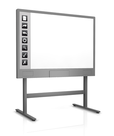 presentation board: one interactive whiteboard with an empty display (3d render)