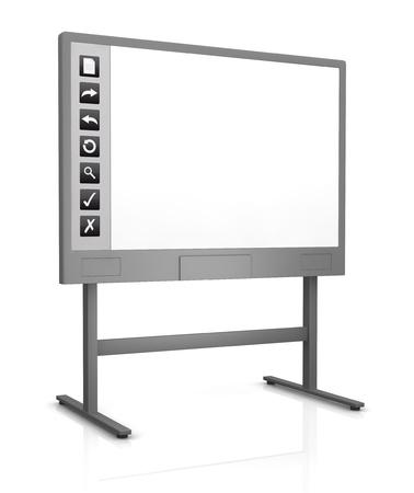une tableau blanc interactif avec un écran vide (rendu 3D)