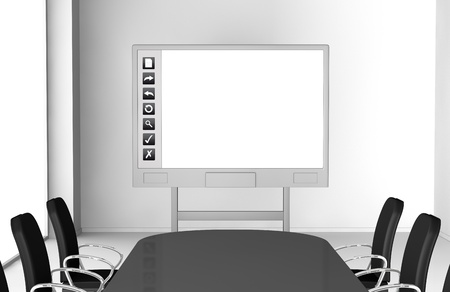 copy room: one office room with an interactive whiteboard (3d render)
